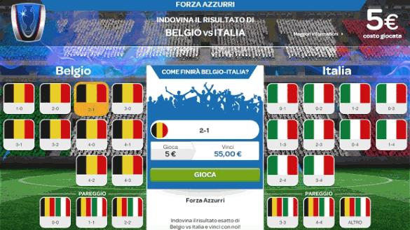Piazzare una scommessa di 5€ sul risultato finale (90 minuti) del Belgio-Italia in Europa 2016 e vincere.