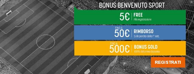Bonus di Benvenuto Snai Gold: scommesse fino a 555€